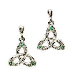 S/S Emerald/Diamond Trinity Knot Earrings