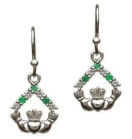 S/S Green CZ Stone Set Claddagh Earrings