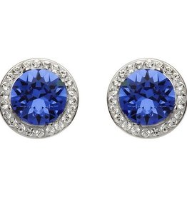 S/S Sapphire Swarovski Halo Earrings