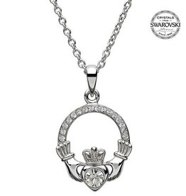 S/S April Claddagh Birthstone Necklace with Swarovski Crystal