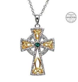 S/S White and Green Swarovski Celtic Cross Pendant