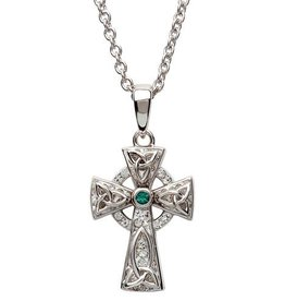 S/S White and Green Swarovski Celtic Trinity Knot Cross Necklace