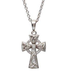 S/S Swarovski Celtic Trinity Knot Cross Necklace