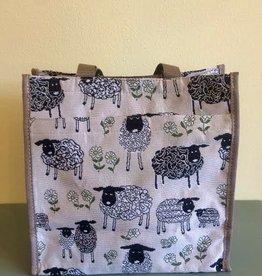 Tapestry Shopper Bag, Sheep & Daisy, White