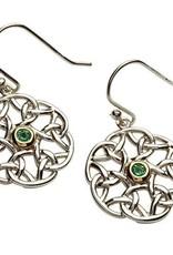 S/S Green CZ GP Celtic Earrings