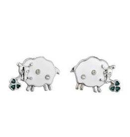 Lucky Enamel & Crystal Sheep Stud Earrings