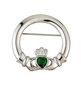 Rhodium Green Crystal Claddagh Brooch