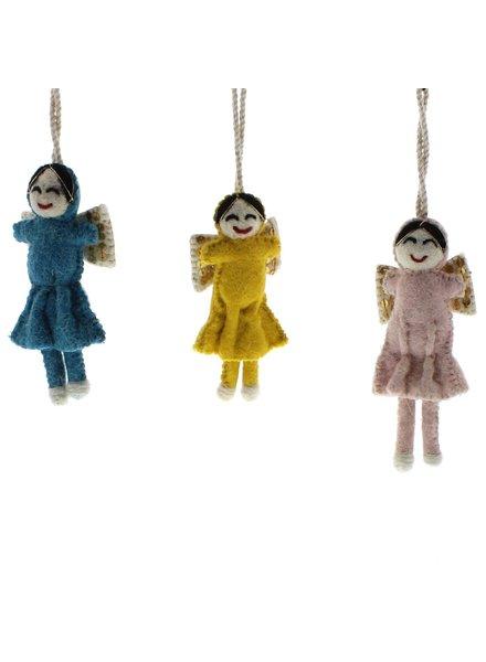 HomArt Felt Sequin Angel Ornaments - Set of 3  Teal, Yellow, Pale Pink
