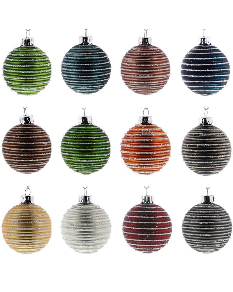 HomArt Colored Glass Ball Ornaments - Assorted Box of 12