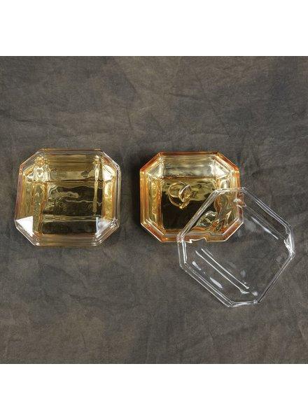 HomArt Asscher Lidded Glass Box with Gold Base
