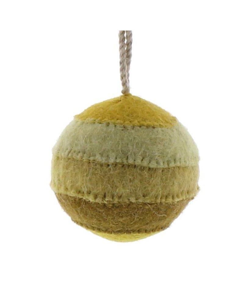 HomArt Felt Patchwork Ball Ornament  Yellow