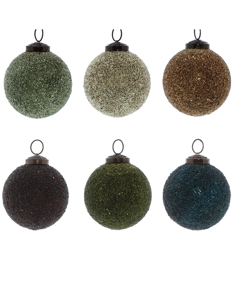 HomArt Crystalized Glass Ornament - Lrg - Set of 6, Assorted Colors  6 colors, Assorted