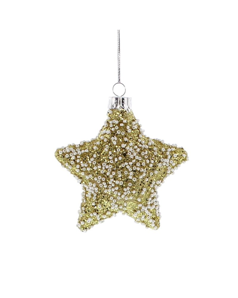 HomArt Glass Gold Glitter Star Ornament