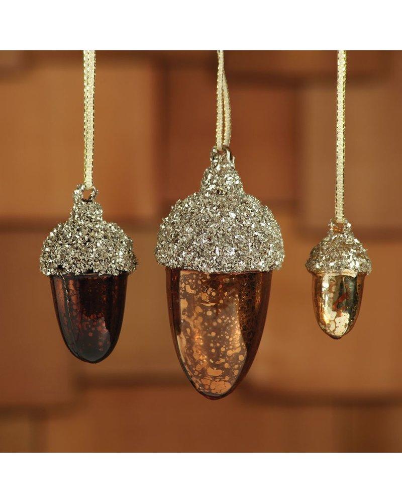 HomArt Acorn Glass Ornament - Med Dark Brown