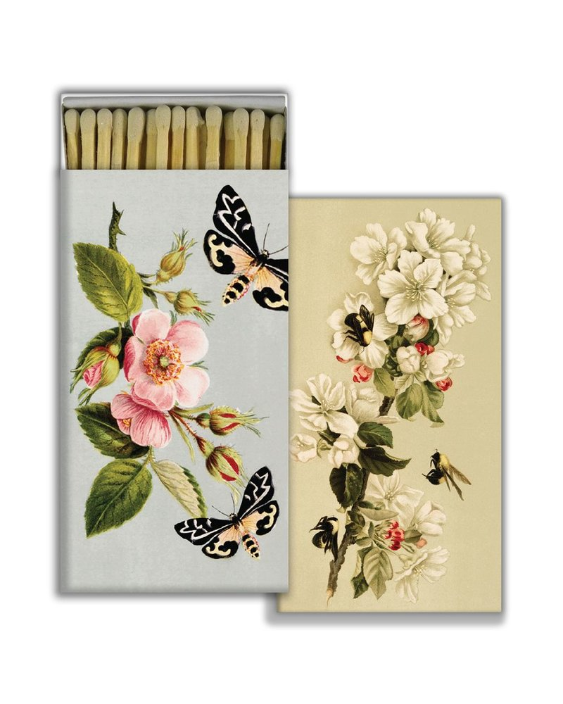 HomArt Matches - Insects and Floral - White - Set of 3