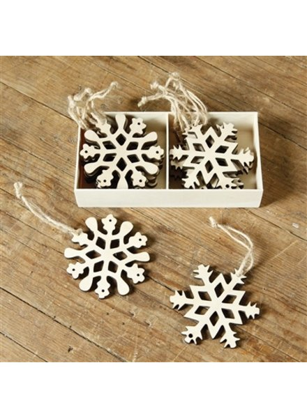 HomArt Snowflakes - Box of 12 - Natural Wood