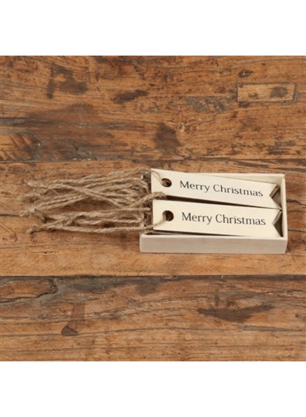 HomArt Gift Wood Hangtag - Box of 12 - Merry Christmas