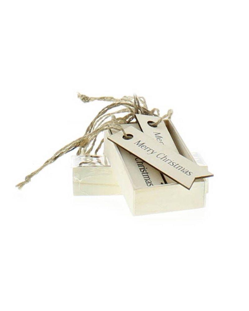 HomArt Gift Wood Hangtag - Box of 12 - Merry Christmas