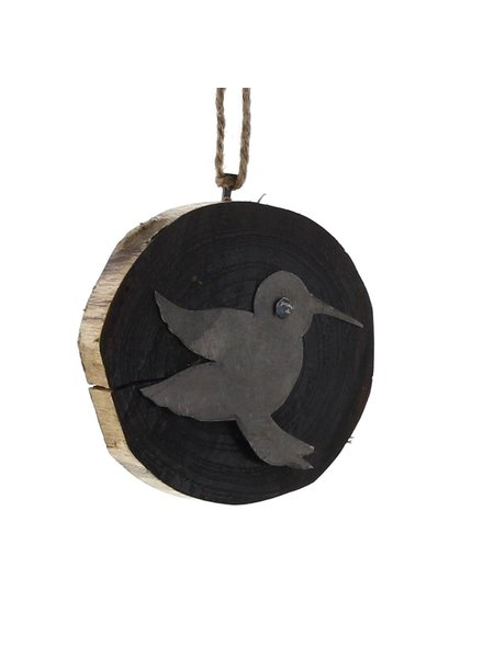 HomArt Wood Slice Ornament - Hummingbird
