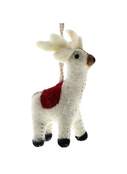 HomArt Felt Reindeer with Blanket Ornament  White with Red Blanket