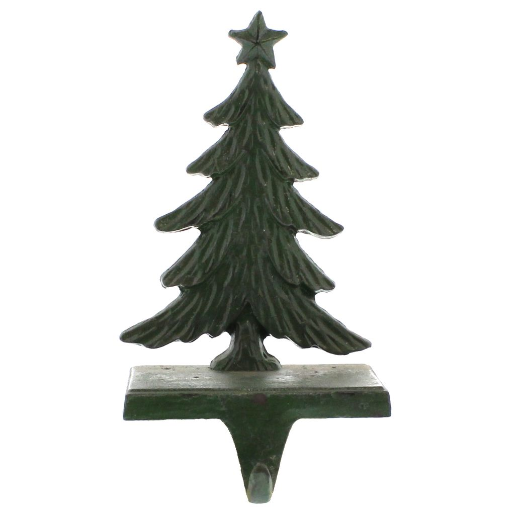HomArt Antique Green Christmas Tree Cast Iron Stocking Holder - AREOhome