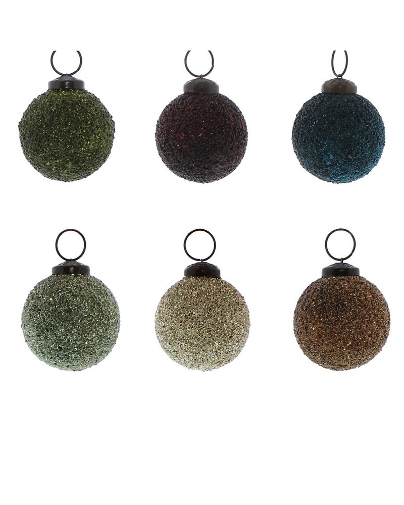 HomArt Crystalized Glass Ornament - Sm - Set of 6, Assorted Colors  6 colors, Assorted