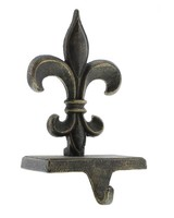 HomArt Fleur De Lys Stocking Holder - Cast Iron - Antique Bronze