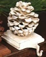 HomArt Stocking Holder Pinecone - Cast Iron White