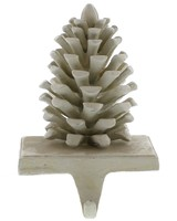 HomArt Pinecone Cast iron Stocking Holder - White