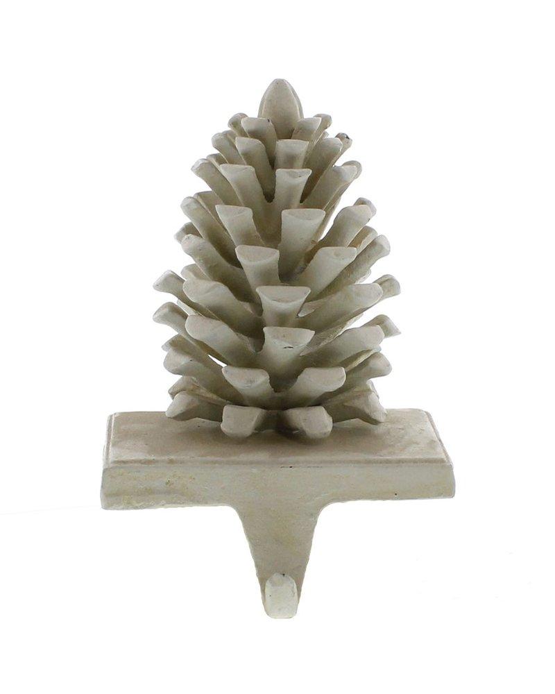 HomArt Pinecone Cast iron Stocking Holder - White