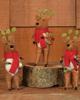 HomArt Felt Reindeer Ornaments, Set of 3