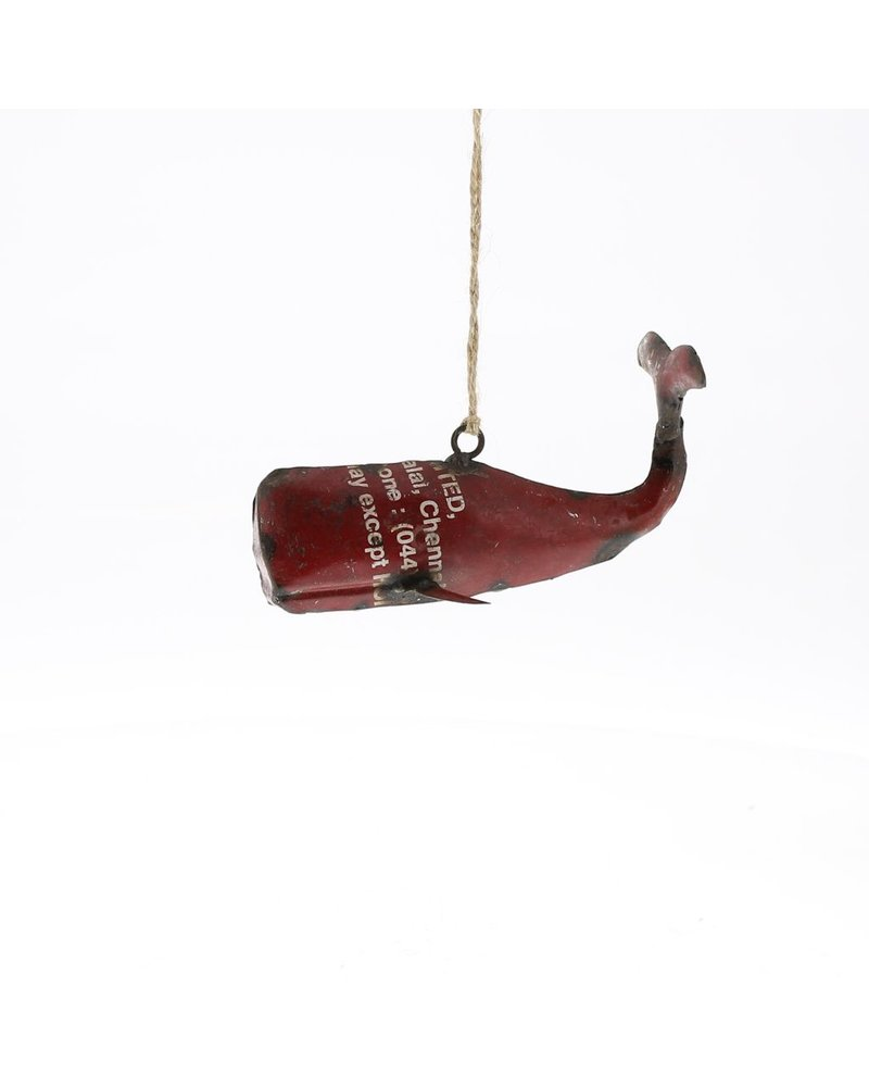 HomArt Reclaimed Metal Whale Ornament - Red