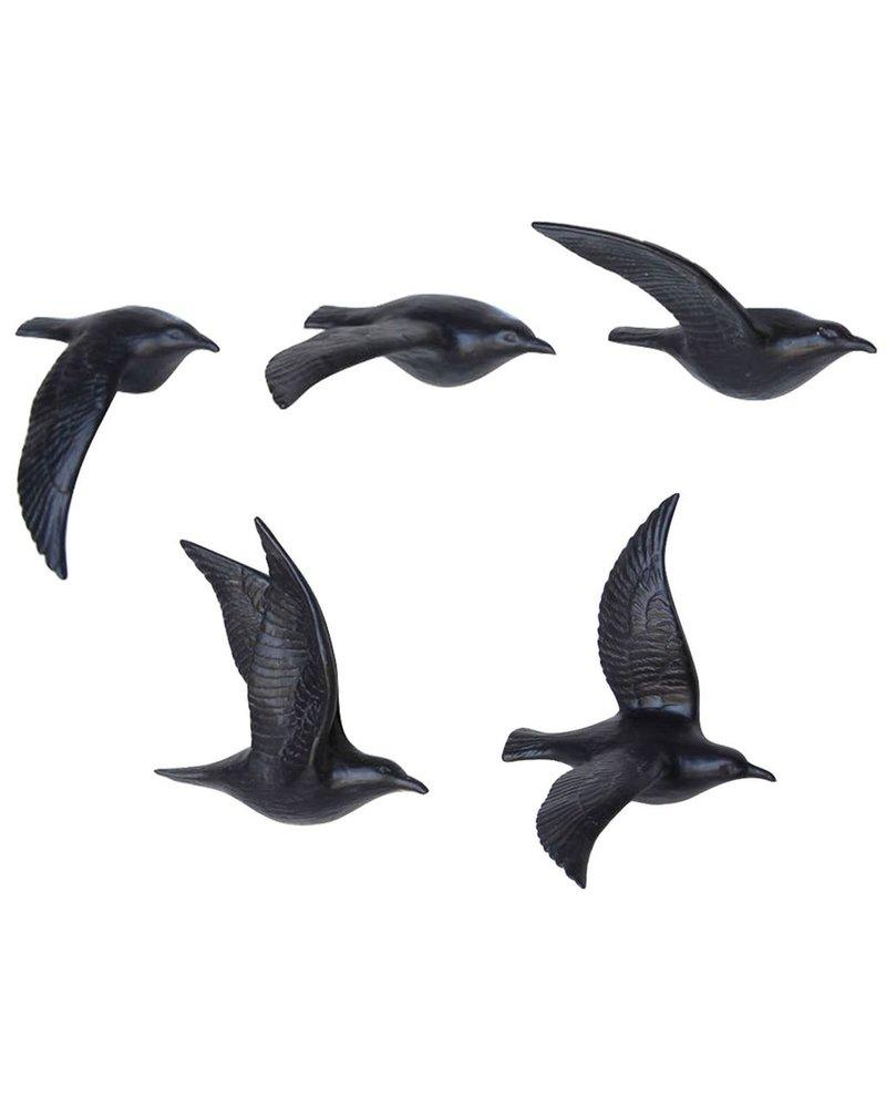 HomArt Flying Gulls - Bone China - Set of 5 Matte Black