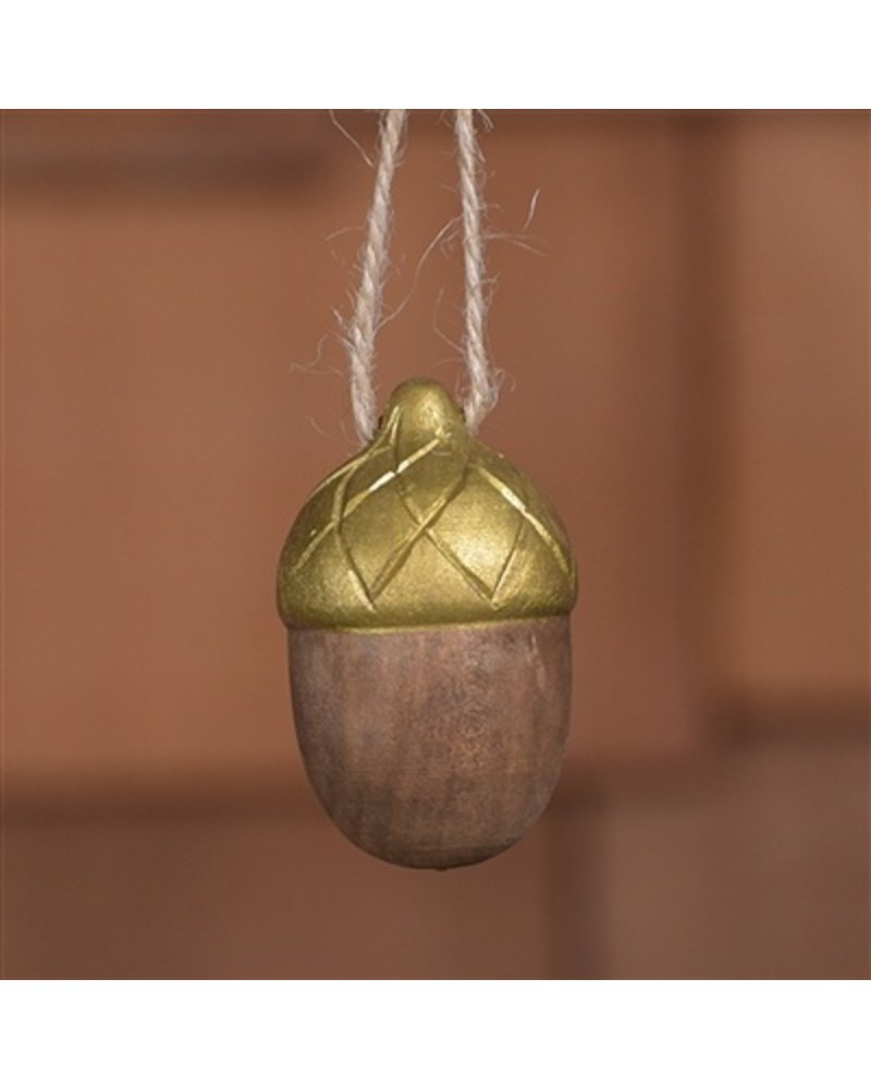 HomArt Carved Wood Acorn in Brown & Gold