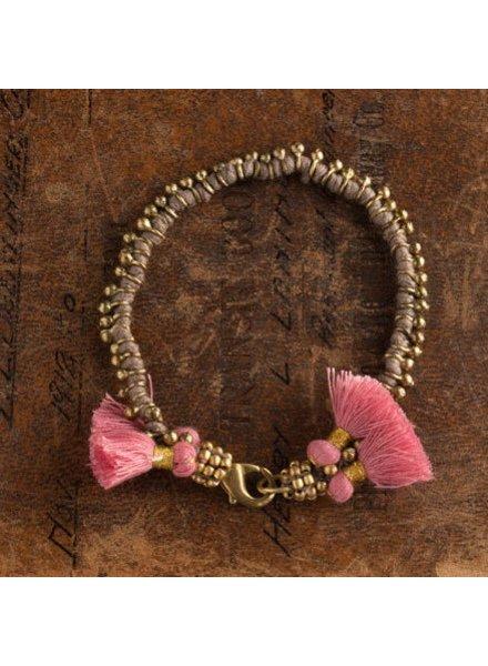 Vagabond Vintage Furnishings Bohemian Bracalet Grey with Pink Tassels
