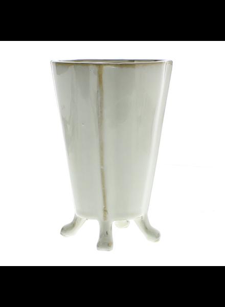 HomArt Rue Footed Ceramic Vase - Med- Fancy White