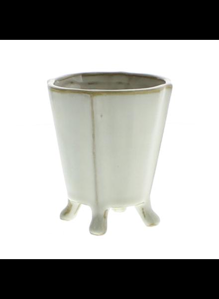 HomArt Rue Footed Ceramic Vase - Sm - Fancy White - Set of 2