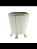 HomArt Rue Footed Ceramic Vase - Sm - Fancy White