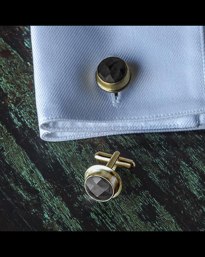 HomArt Brass Cuff Link - Round, Pair of 2 - Matte Black