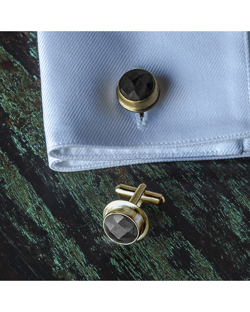 OraTen Brass Cuff Link - Round, Pair of 2 - Matte Black Onyx