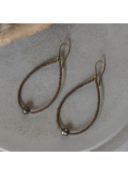 OraTen Astrid Beaded Earrings - Pyrite