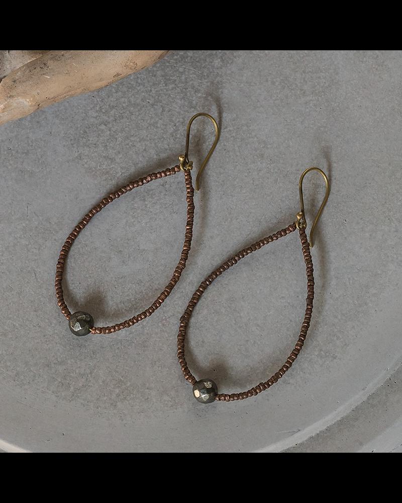 HomArt Astrid Beaded Earrings - Pyrite