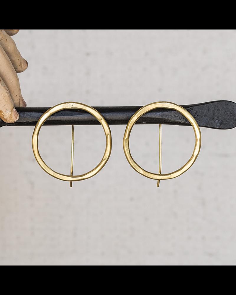 OraTen Cadence Brass Earrings, Round