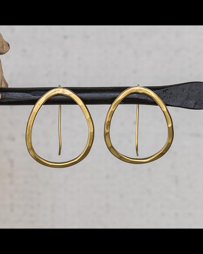OraTen Cadence Brass Earrings, Oval - Sm