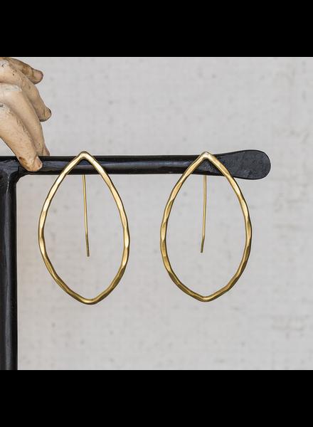 OraTen Cadence Brass Earrings, Bi-Convex - Lrg