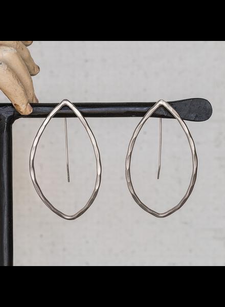 OraTen Cadence Silver Earrings, Bi-Convex - Lrg