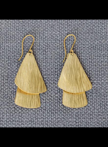 OraTen Brass Double Gingko Earrings