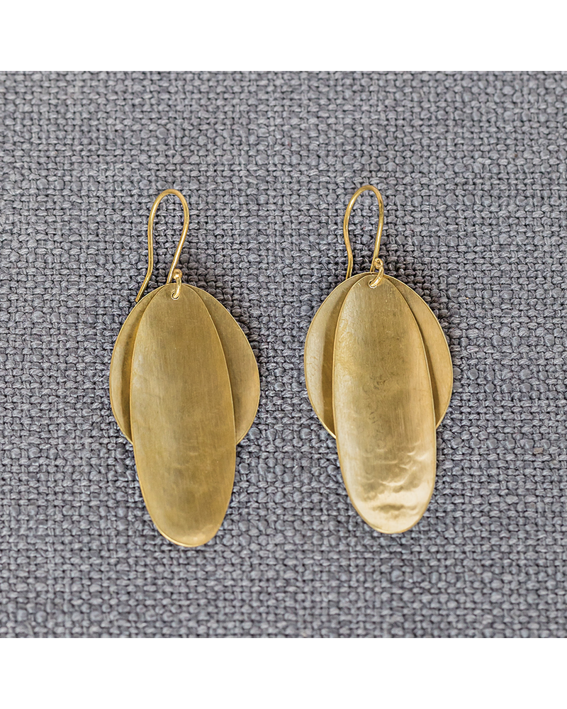 OraTen Brass Double Pod Earrings