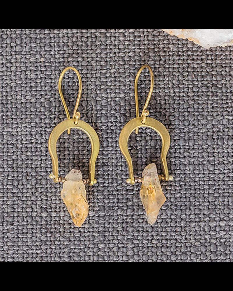 HomArt Crescent Earrings - Raw Citrine