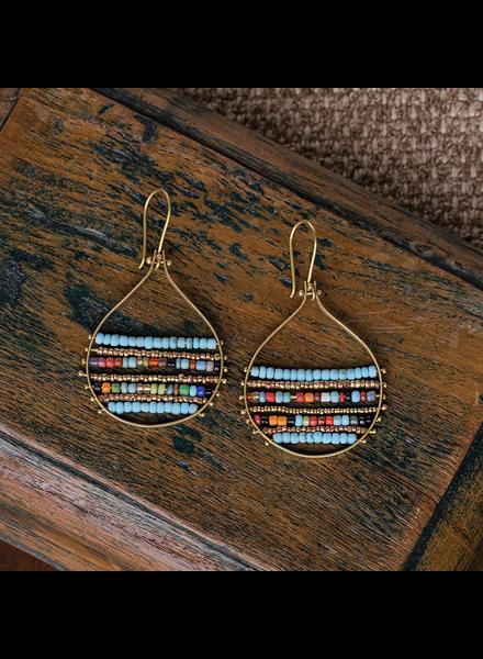 OraTen Mela Beaded Earrings - Aqua + Multi